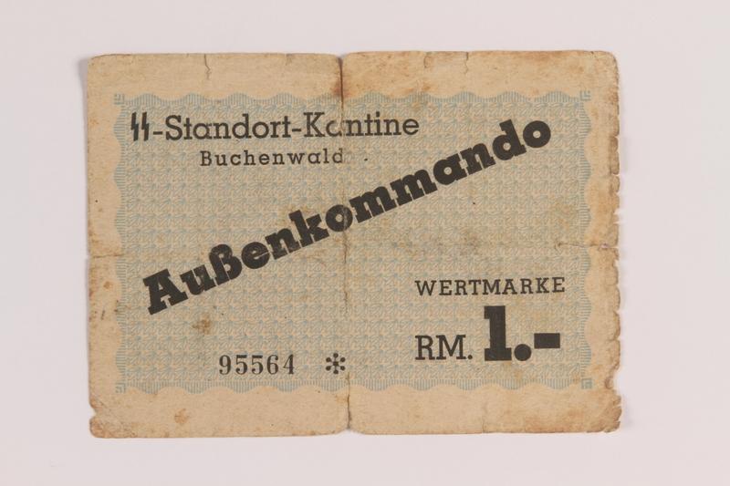 2005.517.42 front Buchenwald Aussenkommando slave labor subcamp, scrip, 1 mark note
