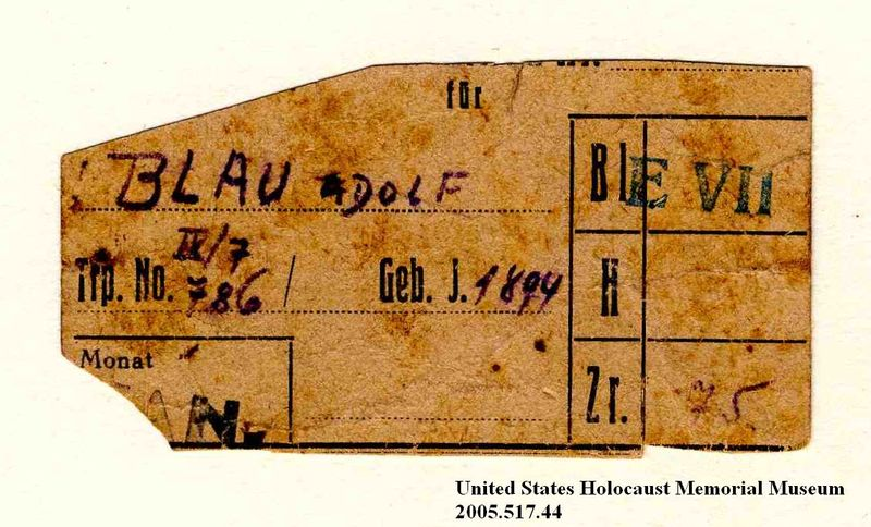 Theresienstadt ghetto-labor camp ration coupon used by an Austrian Jewish inmate
