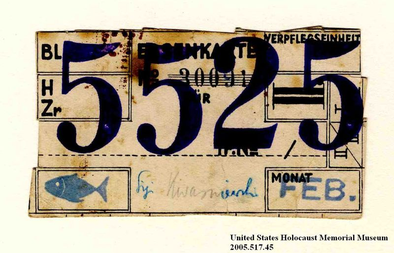 Theresienstadt ghetto-labor camp food ration coupon used by an Austrian Jewish inmate