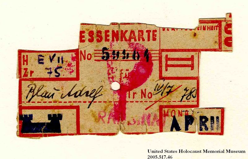Theresienstadt ghetto-labor camp food ration coupon used by an Austrian Jewish prisoner