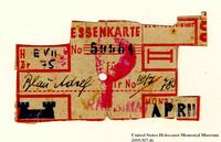 Theresienstadt ghetto-labor camp food ration coupon used by an Austrian Jewish prisoner  Click to enlarge