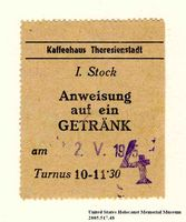 Theresienstadt ghetto-labor camp Kaffeehaus [Coffee house] coupon issued to an Austrian Jewish prisoner  Click to enlarge