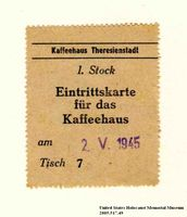 Theresienstadt ghetto-labor camp Kaffeehaus [Coffee house] coupon issued to an Austrian Jewish inmate  Click to enlarge