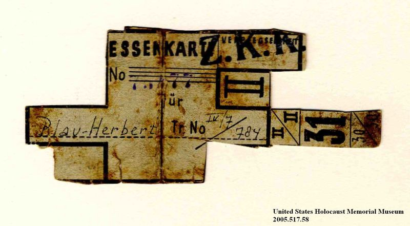 Theresienstadt ghetto-labor camp food coupon issued to an Austrian Jewish prisoner