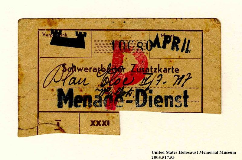 Theresienstadt ghetto-labor camp Kaffeehaus [Coffee house] coupon issued to an Austrian Jewish prisoner