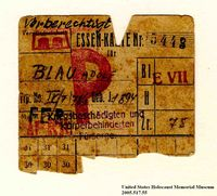 Theresienstadt ghetto-labor camp food coupon issued to an Austrian Jewish prisoner  Click to enlarge