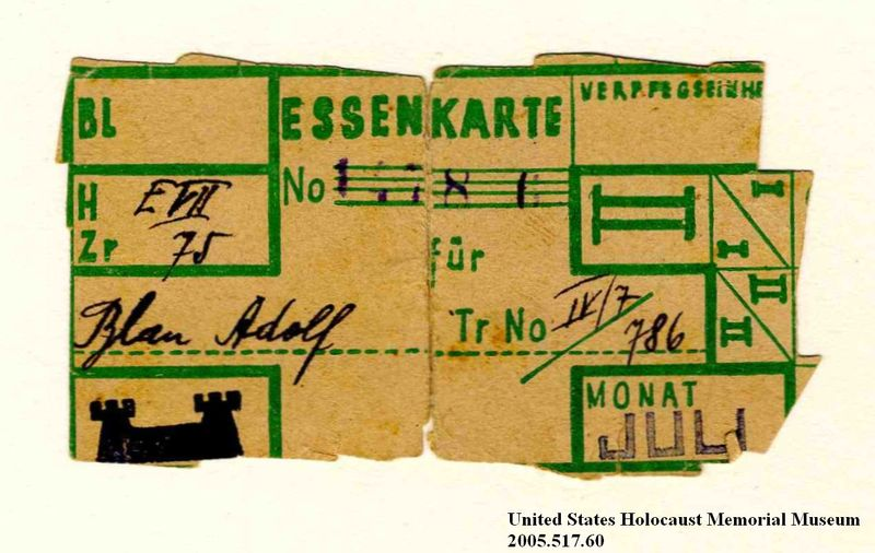 Two Theresienstadt ghetto-labor camp food ration coupons issued to an Austrian Jewish prisoner
