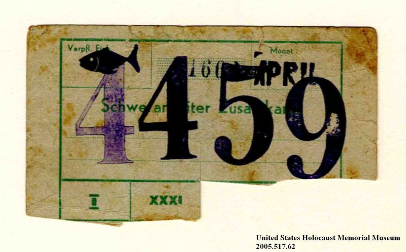 Theresienstadt ghetto-labor camp ration coupon issued to an Austrian Jewish prisoner