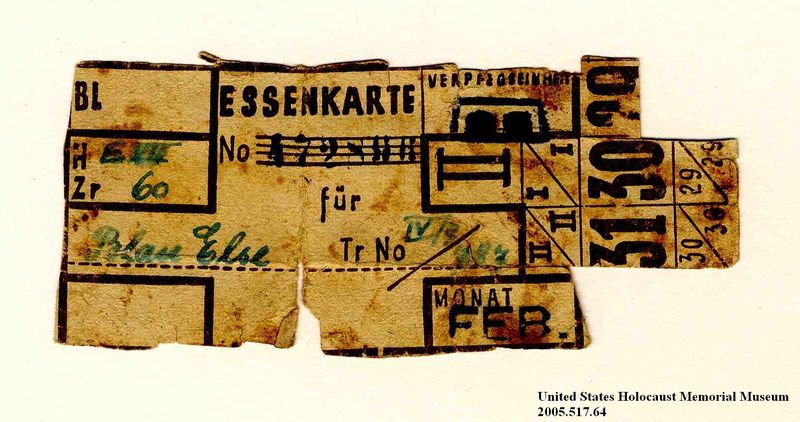 Theresienstadt ghetto-labor camp food ration coupon issued to an Austrian Jewish prisoner
