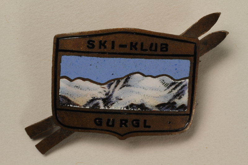 2006.19.9 front Gurgl ski club pin owned by a German Jewish businessman in Shanghai