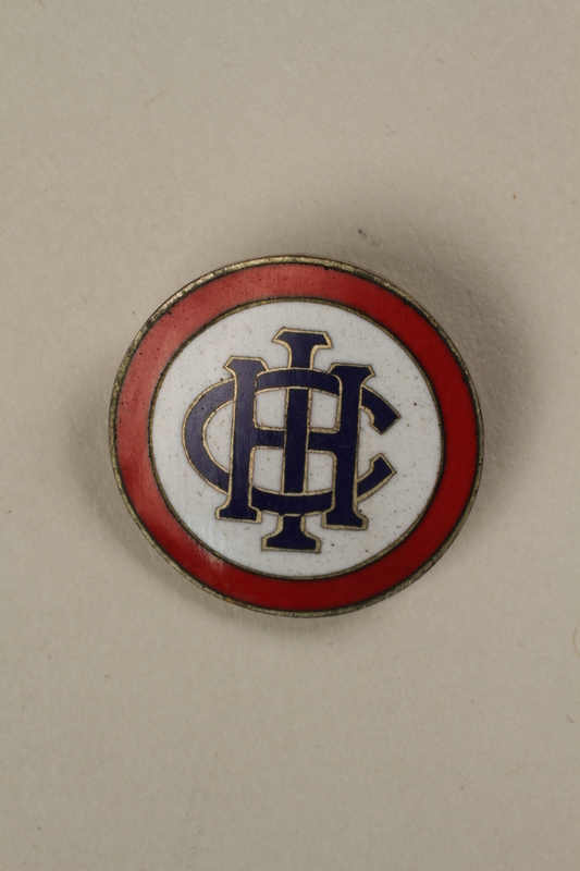2006.19.12 front Pin with an IHC monogram owned by a German Jewish businessman in Shanghai