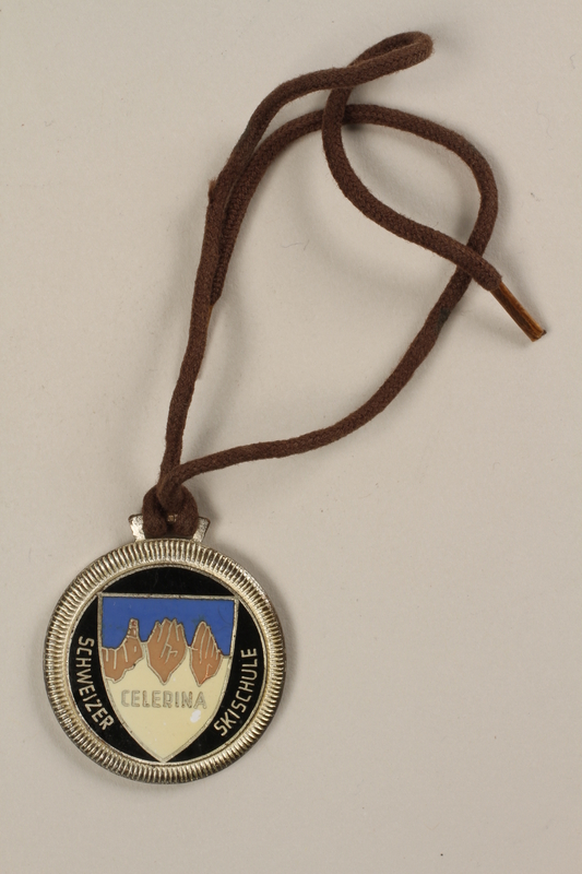 2006.19.14 front Celerina ski school medal owned by a German Jewish businessman in Shanghai