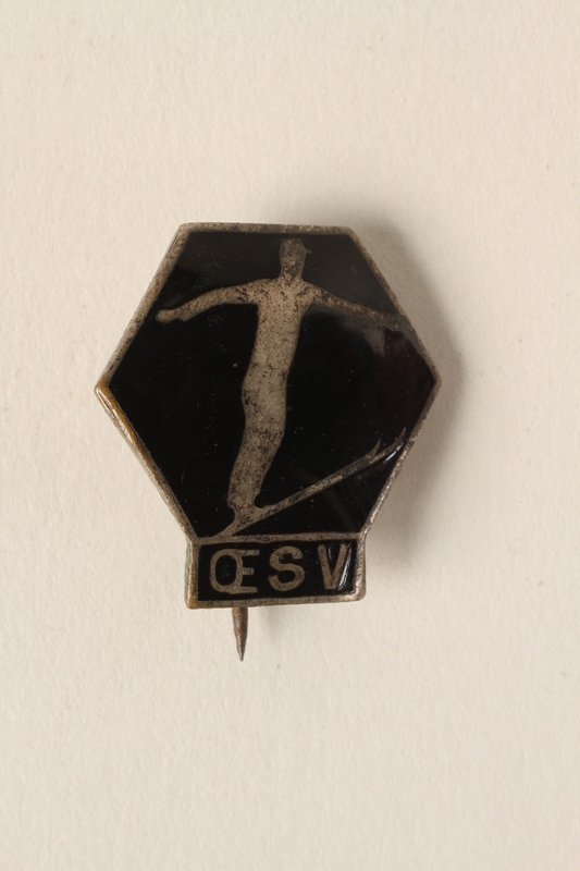 2006.19.21 front Pin with ski jumper owned by a German Jewish businessman in Shanghai
