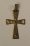 Enamelled gold cross pendant worn by a Jewish child or his mother in hiding as Catholics
