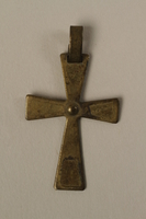 2002.420.24 front Gold cross pendant worn by a Jewish child or his mother in hiding as Catholics  Click to enlarge