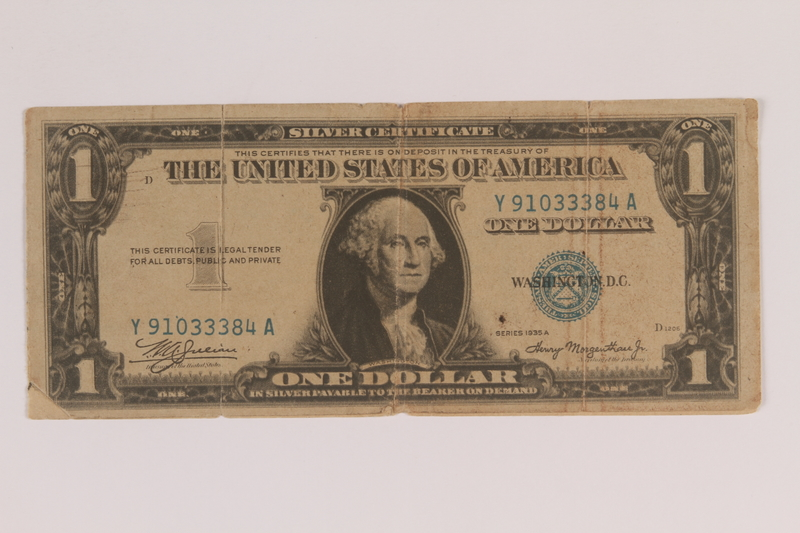 2006.96.1 front Antisemitic Nazi propaganda leaflet mimicking a US silver certificate found by a US soldier