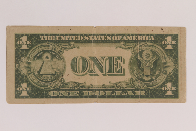 2006.96.1 back Antisemitic Nazi propaganda leaflet mimicking a US silver certificate found by a US soldier