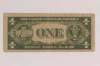 2006.96.1 back Antisemitic Nazi propaganda leaflet mimicking a US silver certificate found by a US soldier  Click to enlarge