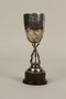 Monthly Club Competition silver trophy cup with wooded base awarded to a German Jewish businessman in Shanghai