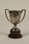 Shanghai Polo Club silver trophy cup with wooden base awarded to a German Jewish businessman in Shanghai