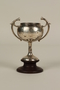 First prize silver trophy cup with wooden base awarded to a German Jewish businessman in Shanghai