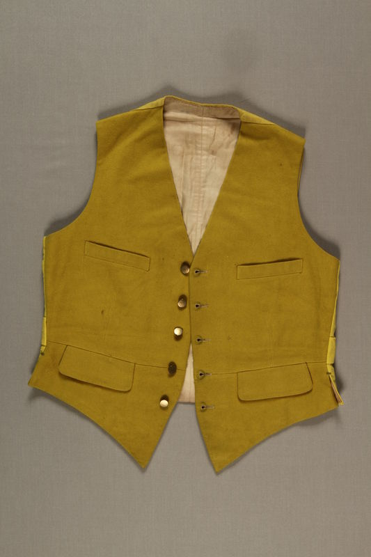 2006.19.41 front Yellow cloth vest with 5 brass buttons owned by a German Jewish businessman in Shanghai