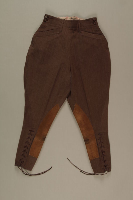 2006.19.42 front Brown riding breeches owned by a German Jewish businessman in Shanghai