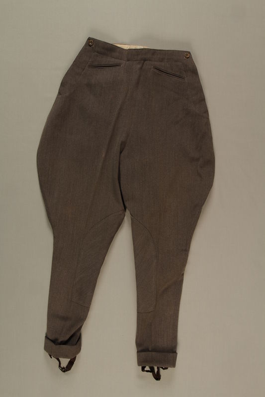2006.19.43 front Brown jodhpurs with stirrups owned by a German Jewish businessman in Shanghai