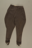 2006.19.43 front Brown jodhpurs with stirrups owned by a German Jewish businessman in Shanghai  Click to enlarge