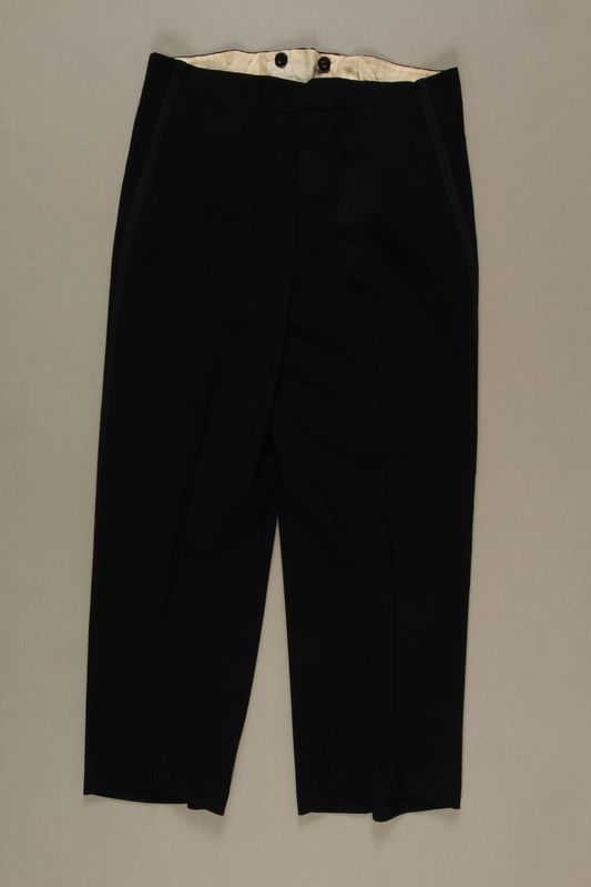 2006.19.44 front Formal trousers with tuxedo trim owned by a German Jewish businessman in Shanghai