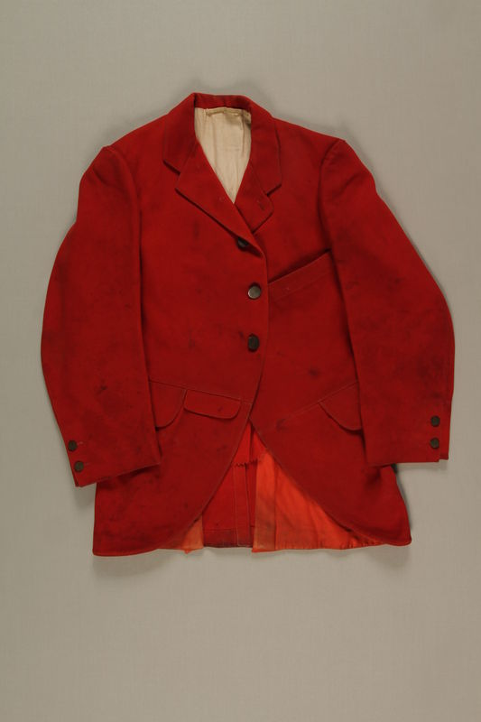 2006.19.46 front Red hunt jacket owned by a German Jewish businessman in Shanghai