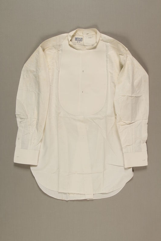 2006.19.48 front Tailored white shirt with a starched bib worn by a German Jewish businessman in Shanghai