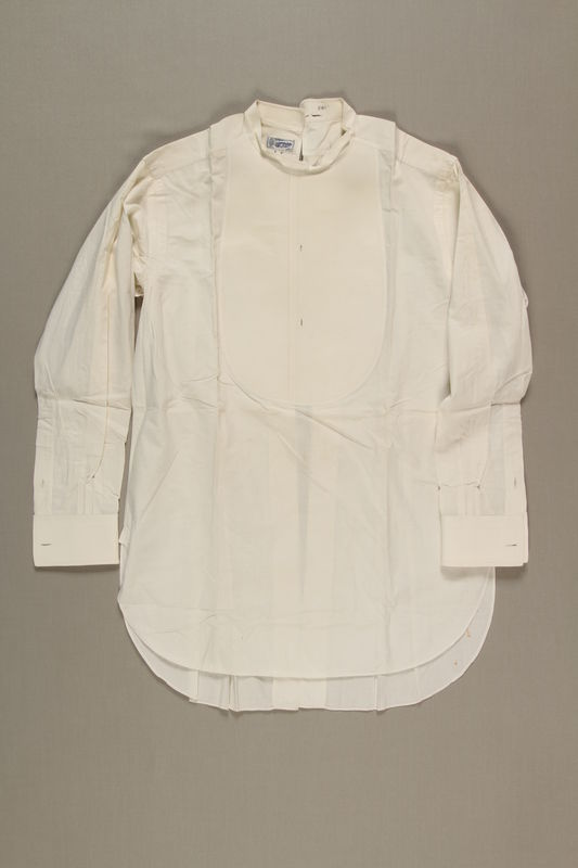2006.19.49 front Tailored white shirt with a starched bib worn by a German Jewish businessman in Shanghai