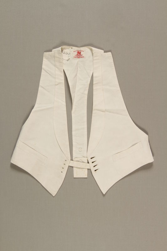 2006.19.50 front Tailored white vest owned by a German Jewish businessman in Shanghai