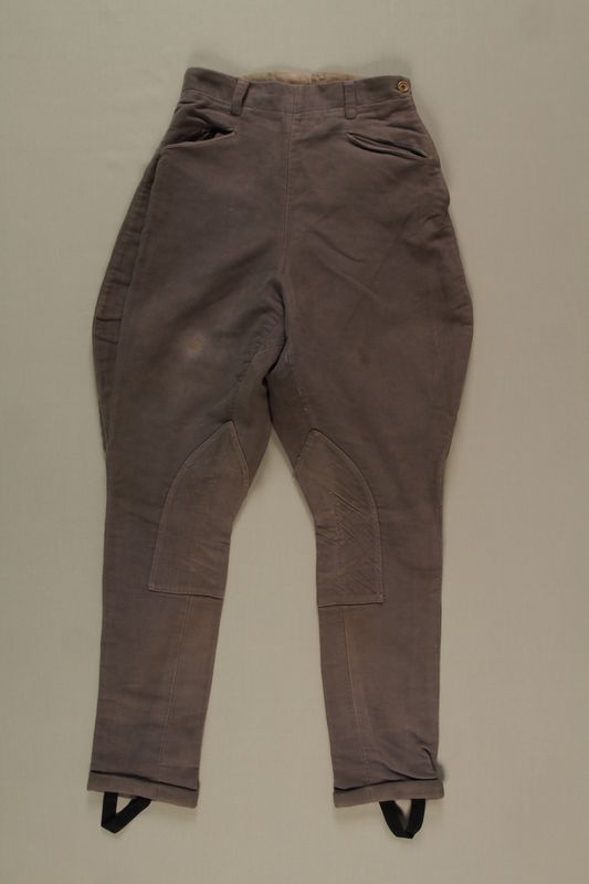 2006.419.53 front Gray cloth jodhpurs owned by a German Jewish businessman in Shanghai