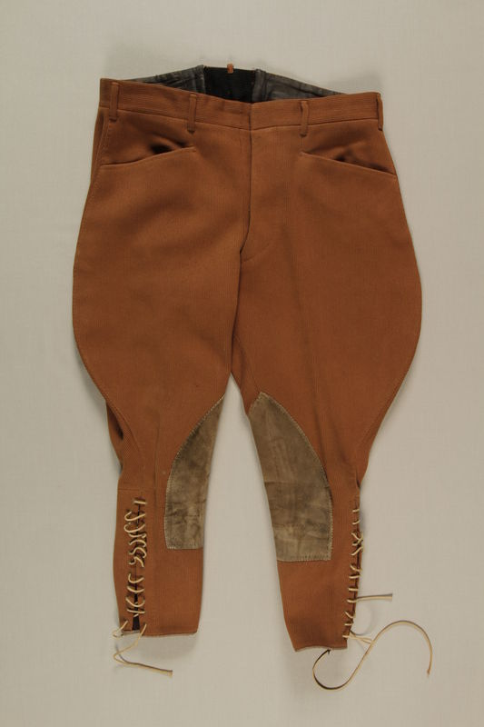 2006.19.54 front Brown riding breeches owned by a German Jewish businessman in Shanghai