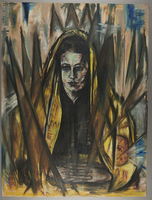 2005.571.2 front Portrait of a regal looking woman surrounded by bulrushes by Arno Nadel  Click to enlarge