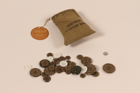 2006.11.7 front US Army drawstring button bag and buttons used by a soldier  Click to enlarge