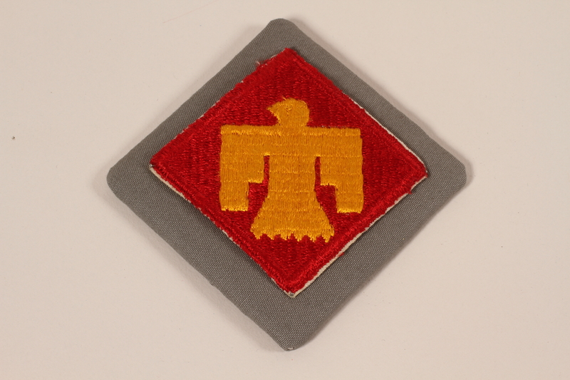 2006.11.22 front US Army, 45th Infantry Division, Class A Thunderbird patch issued to a Jewish soldier