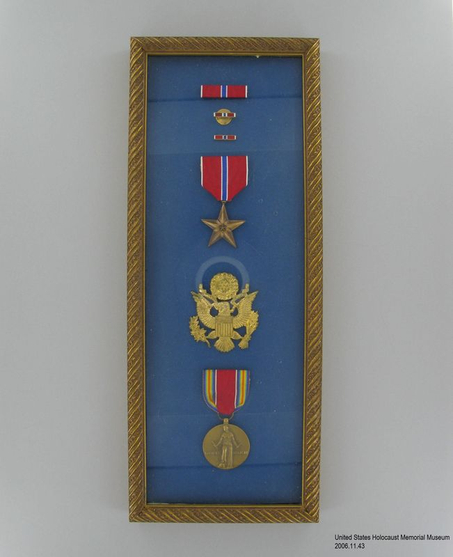 Framed Set Of Military Medals Ribbons And Insignia Awarded To Us