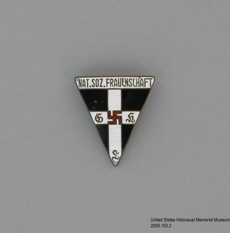 2006.103.2, National socialist frauenschaft (women's organization) pin, Cayla DuChene Houston Collection Nazi Party Women's Order of the Red Swastika lapel pin