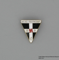 2006.103.3, National socialist frauenschaft (women's organization) pin, Cayla DuChene Houston Collection Nazi Party Women's Order of the Red Swastika lapel pin  Click to enlarge