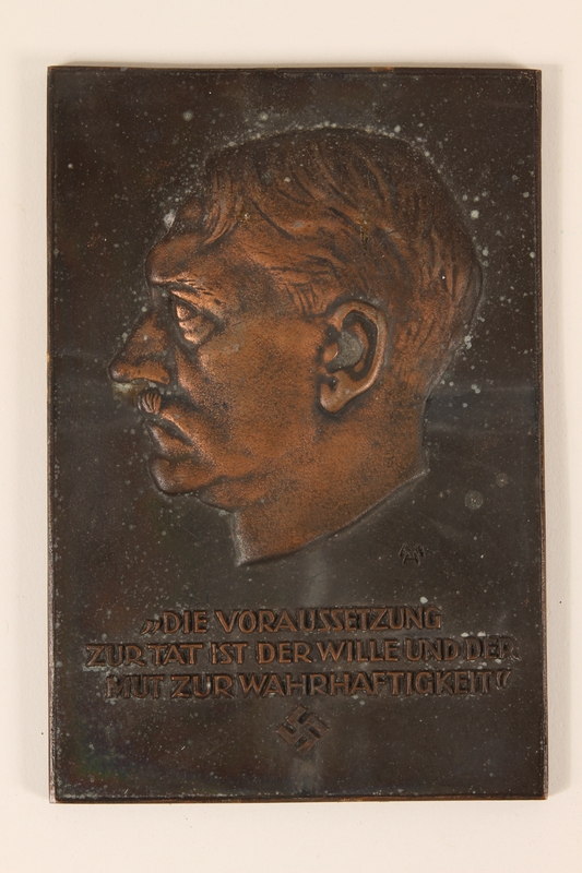 2006.258.11 front.JPG Adolf Hitler bas-relief commemorative plaque aquired by a US soldier