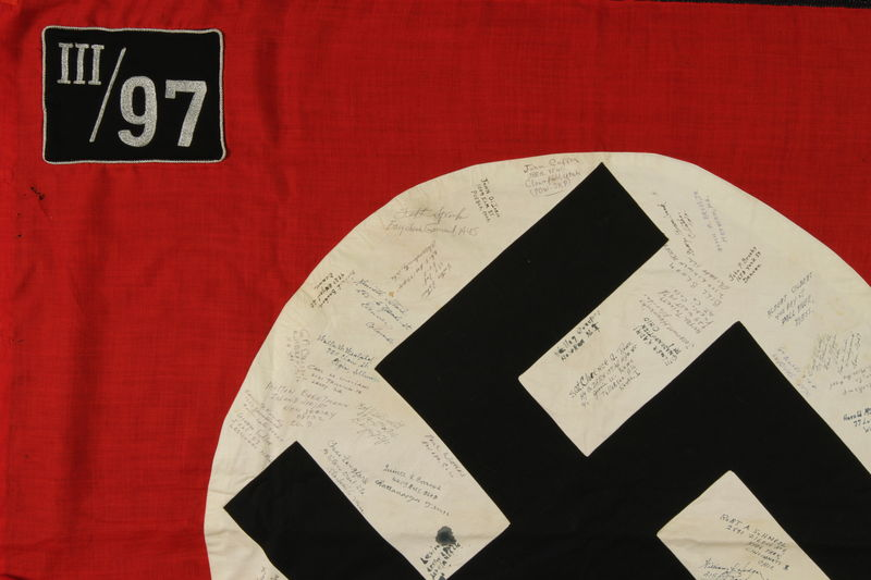 2006.449.1 detail Nazi flag from taken from Dachau and signed by over 50 US soldiers