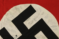 2006.449.1 detail Nazi flag from taken from Dachau and signed by over 50 US soldiers  Click to enlarge