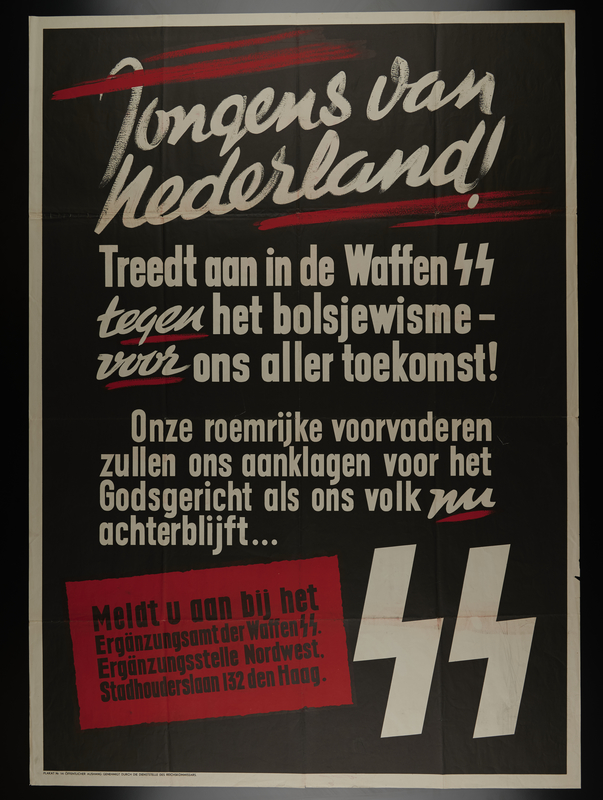 2006.429.1 front Waffen-SS recruitment text only poster that urges Dutch youth to help the Germans fight the Russians