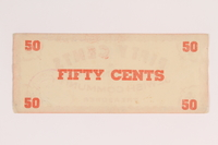 2006.424.1 back Deggendorf displaced persons camp scrip, 50 cents, issued to a German Jewish couple  Click to enlarge