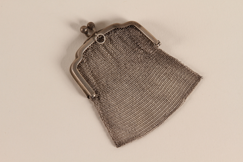 2007.42.2 front Silver mesh coin purse used by a hidden child