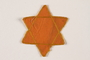 Yellow cloth Star of David badge with a blank center