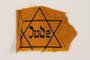 Unused yellow cloth Star of David badge with Jude printed in the center